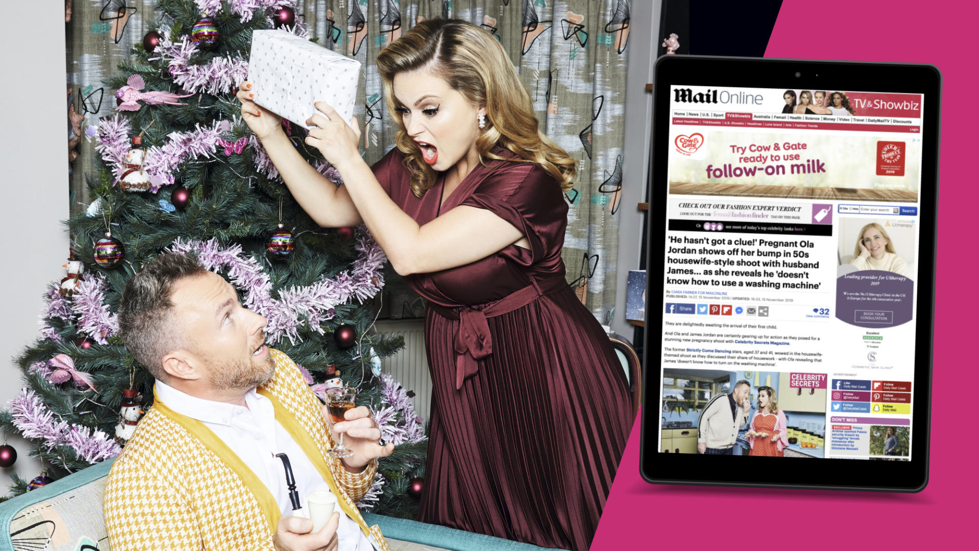 Ola & James Jordan's Celebrity Secrets photoshoot and interview receives national press coverage
